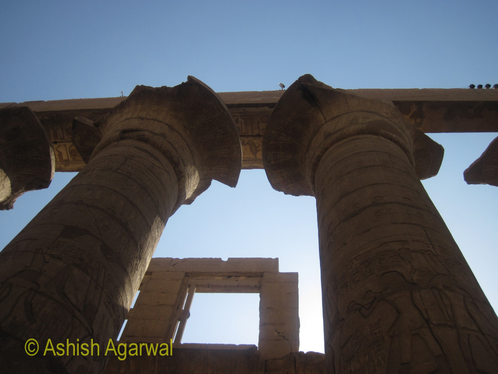 Pillars at the edge of the Hypostyle Hall along with the surrounding wall in the Karnak temple