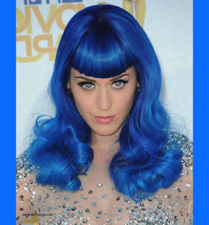 Katy Perry with blue hair.