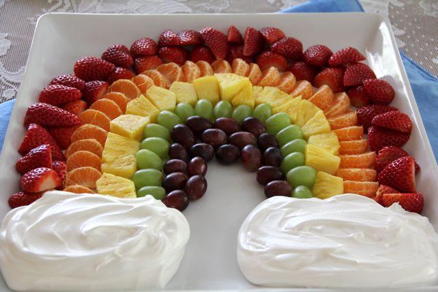 Layered Fruit Platter With Rose Cream Recipe — Dishmaps