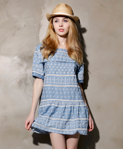 Sailor Collar Embroidered Dress