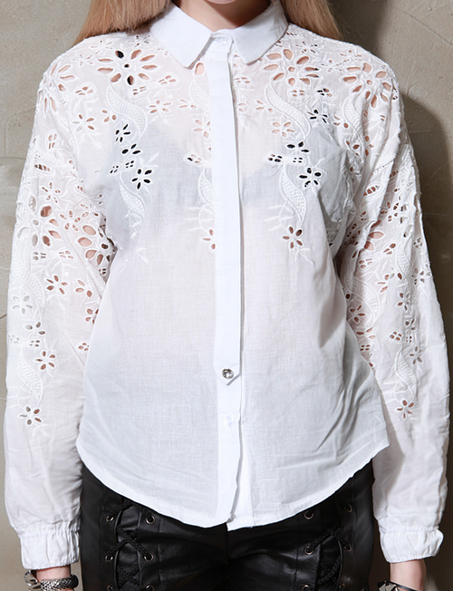 Janette Laser-Cut Embroidery Blouse
