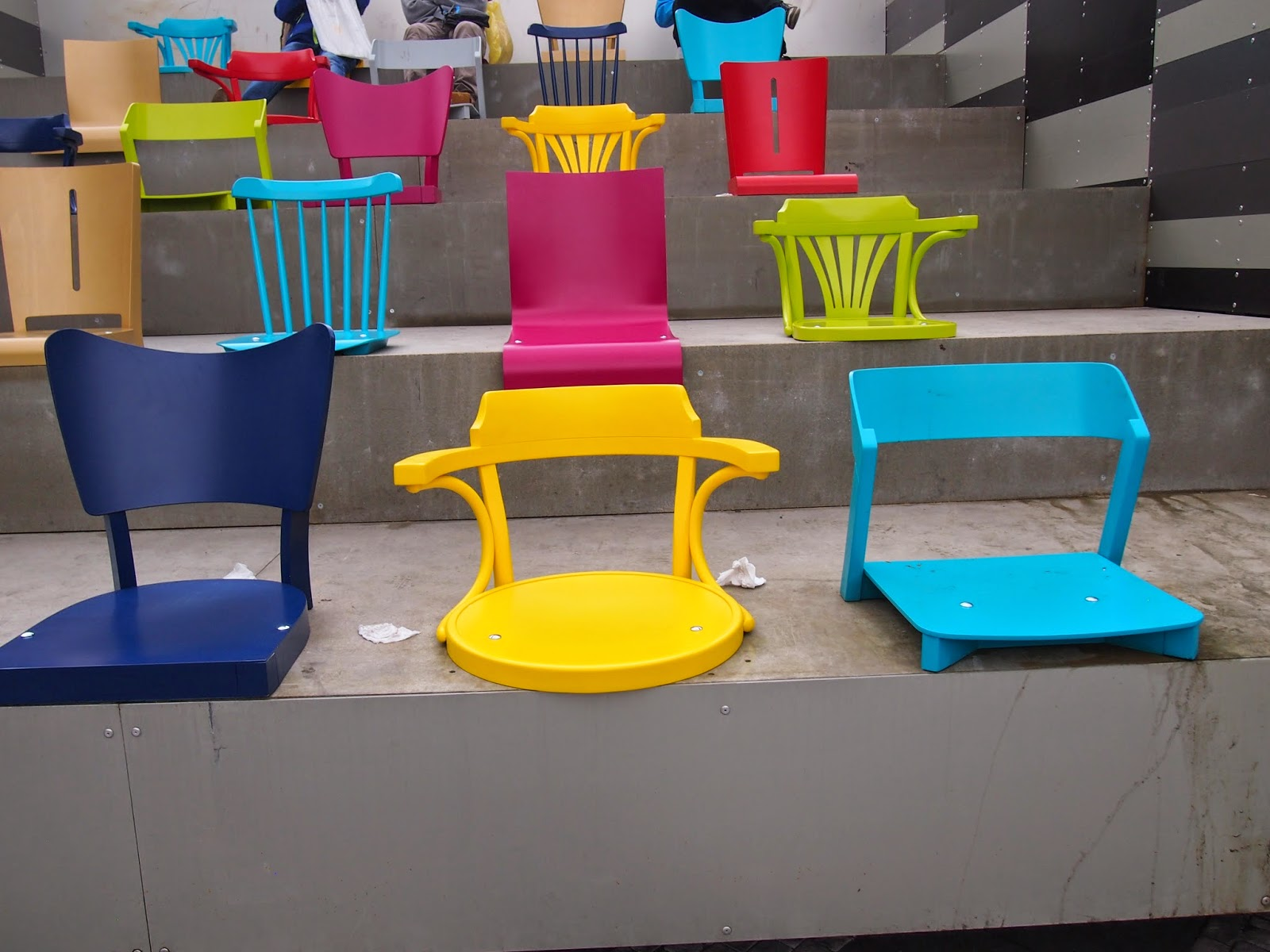 An art installment of colorful chairs in Prague