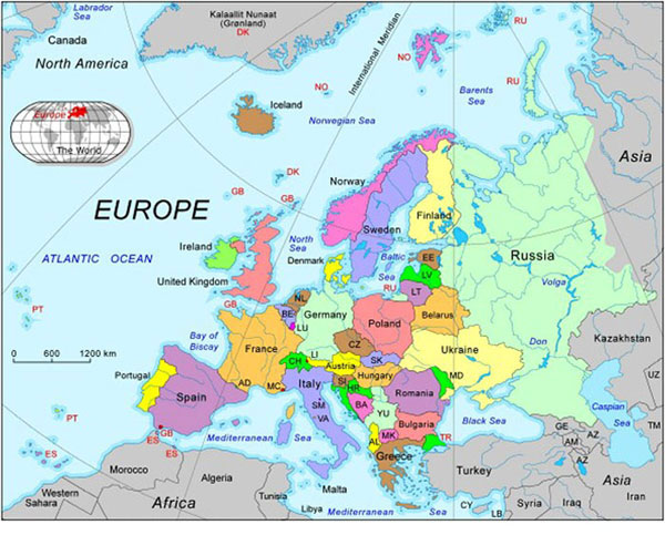 abbreviated political map of europe