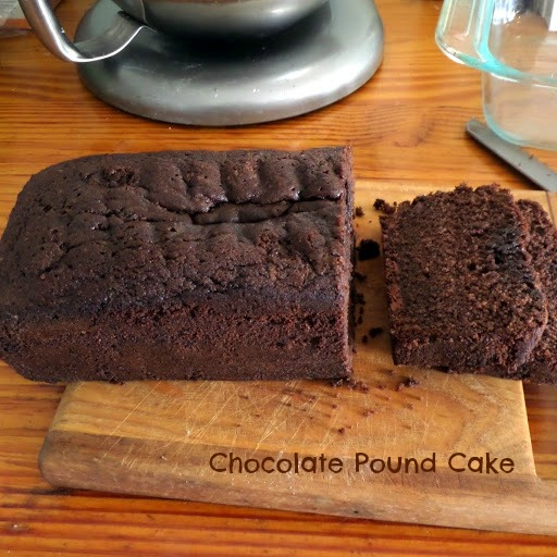 Chocolate Pound Cake:  A rich, chocolaty, dense cake in loaf form.  A great dessert, or have a slice with your morning coffee.