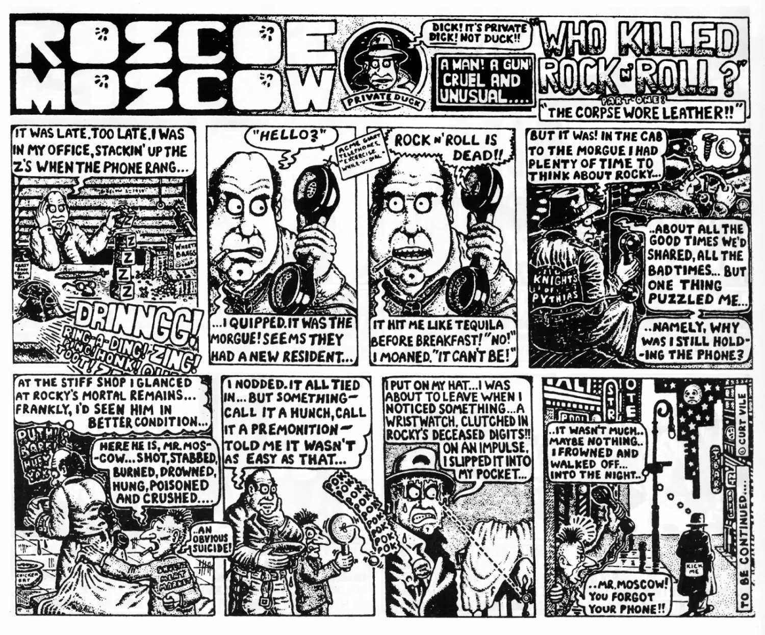 Figure 83: The First Installment Of Roscoe Moscow: Who Killed Rock N' Roll  (alan Moore, 1979, As Curt Vile)