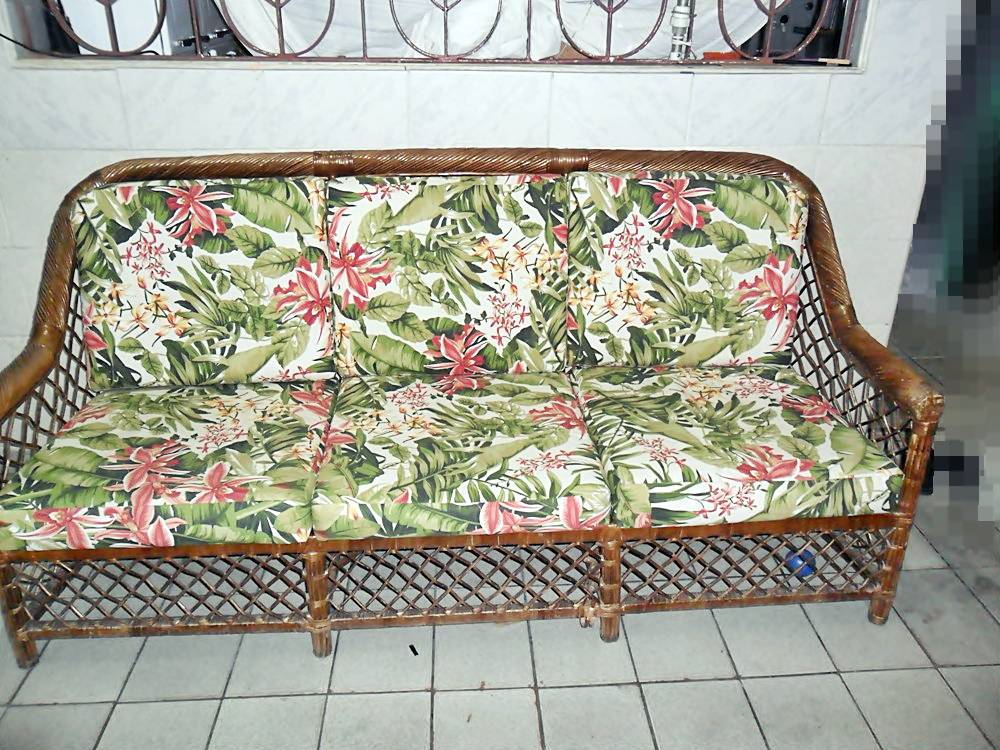 Tapearia sofa de ratan com almofadas de acqua block