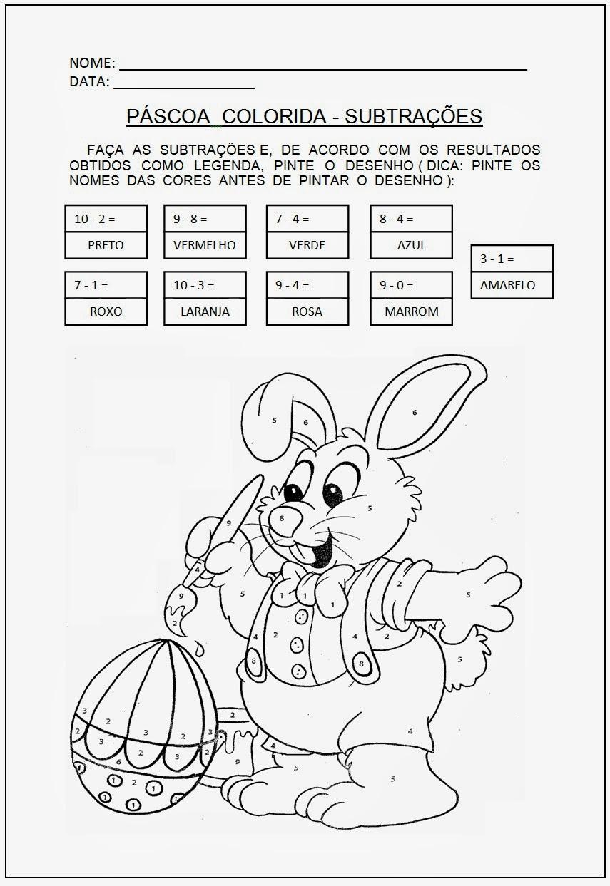 Atividades de Páscoa - Atividade de subtração