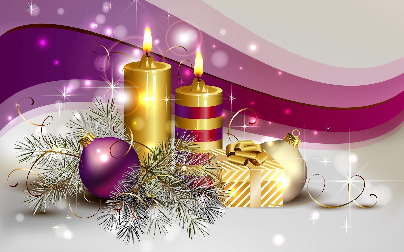 Kaarsen en kerstballen | Bureaublad Achtergronden Wallpapers Kerst Achtergronden