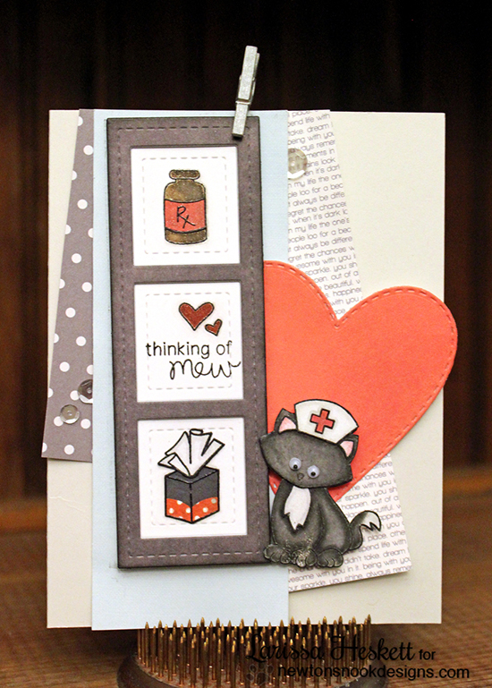 Get Well Cat Nurse card by Larissa Heskett | Newton's Sick Day Stamp set by Newton's Nook Designs