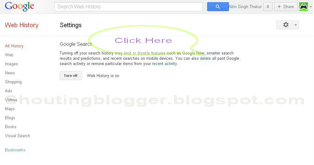 Remove all Google Web History