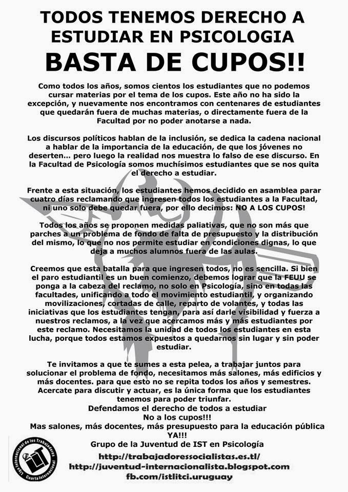 ¡¡BASTA DE CUPOS!! - Click para leer