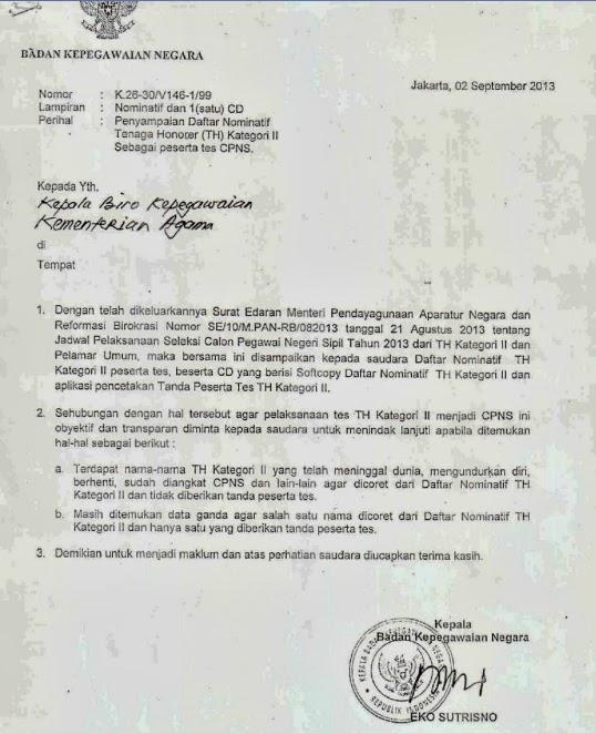 Isi Surat Penyampaian Daftar Nominatif Tenaga Honorer Kemenag Kategori 2 (K 2) 2013
