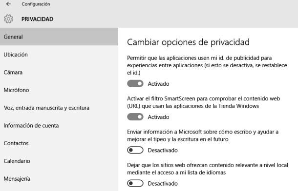 Privacidad Windows