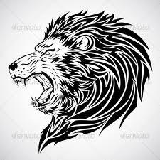 Motif Tato Singa Hitam Putih 34