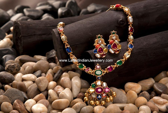 Gold Navaratna Necklace Set