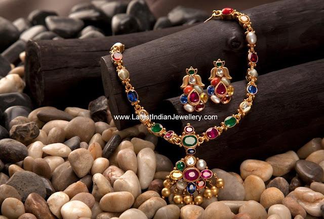 Gold Navaratna Necklace Set