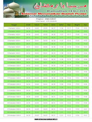Jadwal Imsakiyah Kota Sukabumi Tahun 2015 (1436 H)