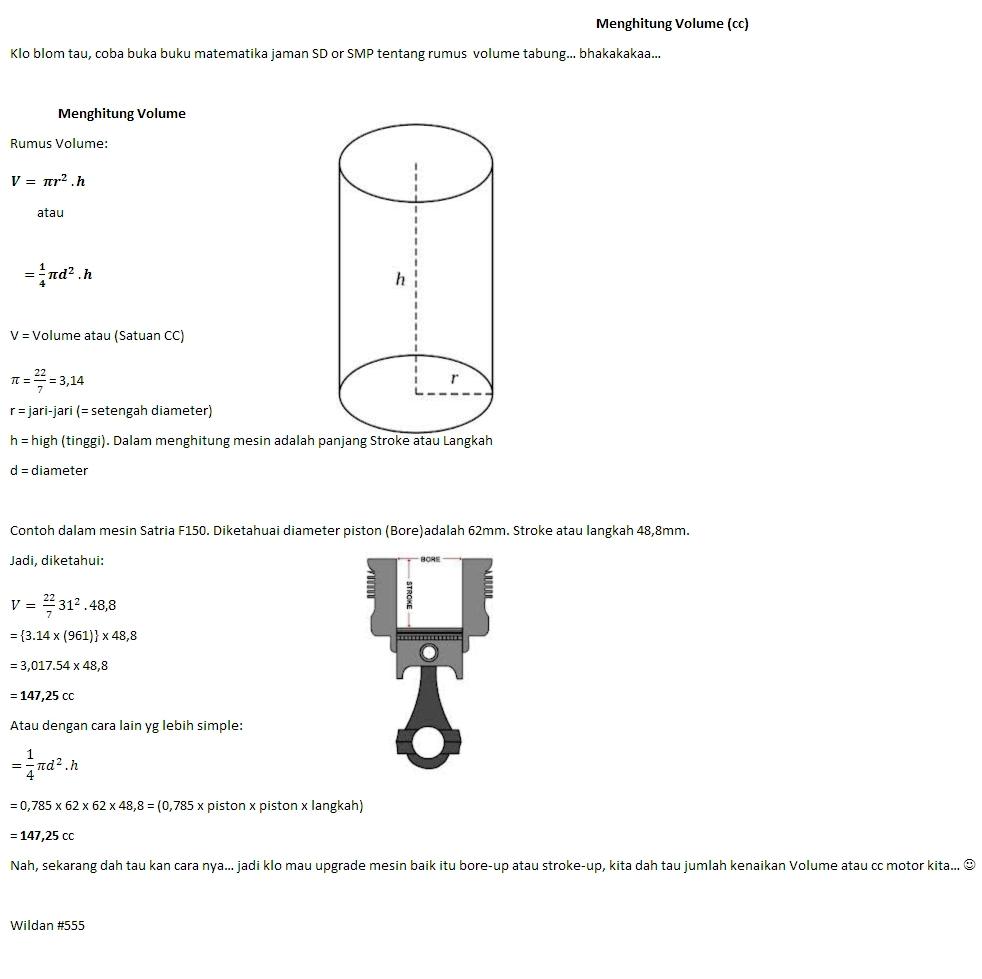 Menghitung Volume Mesin ( CC )