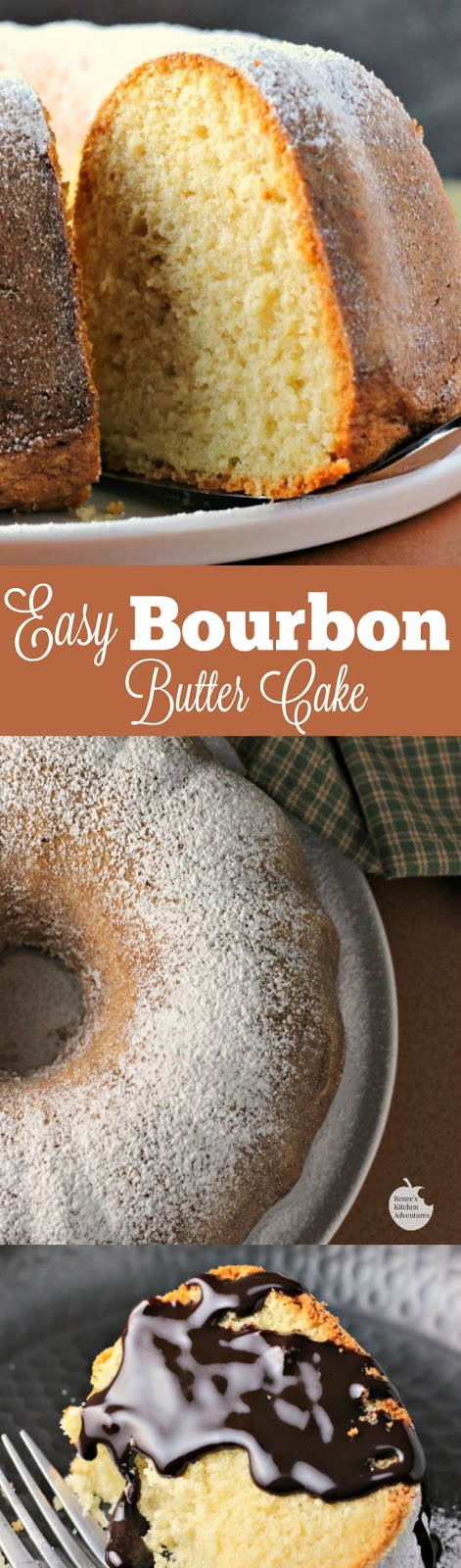 Easy Bourbon Butter Cake | by Renee's Kitchen Adventures - Easy dessert recipe for a moist and buttery cake infused with bourbon! Perfect for special occasions or holidays!