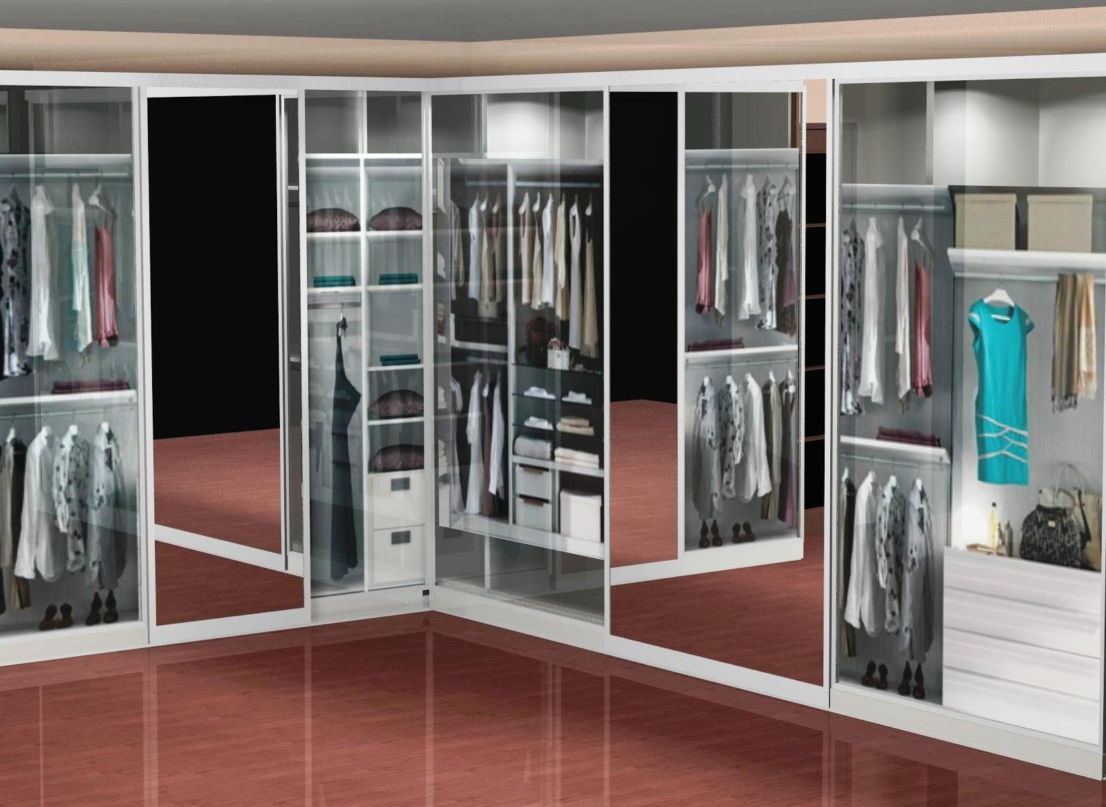 Dise o de vestidor con puertas correderas con espejo central for Espejos de vestidor