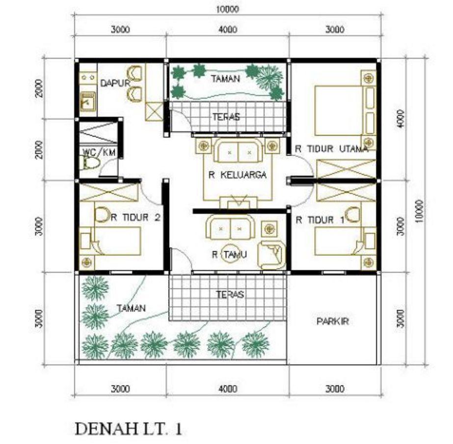 rancangan denah sederhana 3 kamar tidur yang bagus
