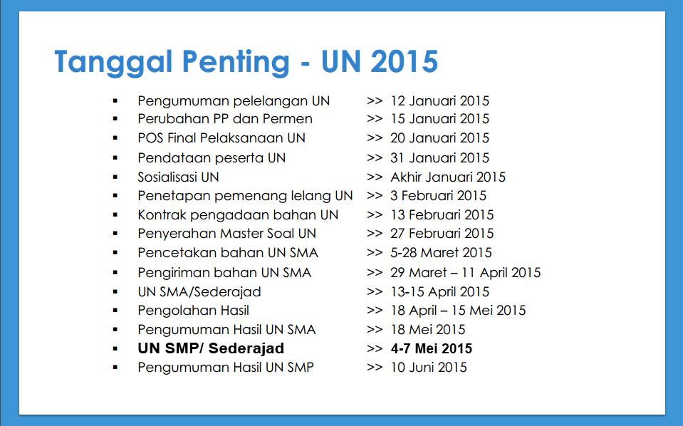 Jadwal Mata Pelajaran Pelaksanaan Ujian Nasional ( UN / Unas ) SMP dan SMA Terbaru tahun 2015