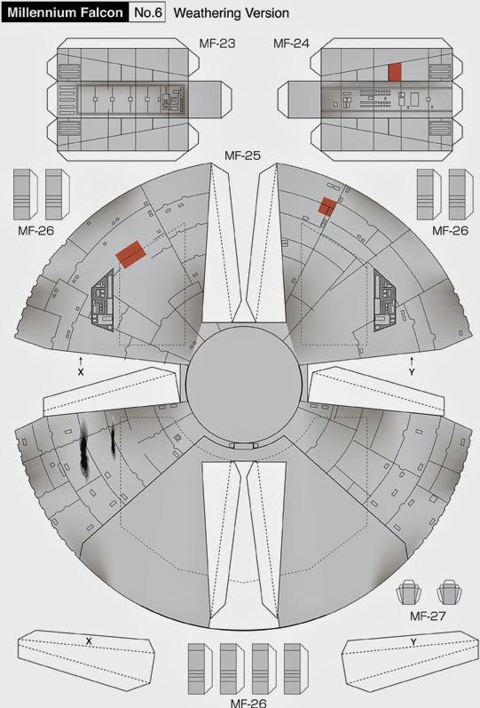 Maqueta descargable y recortable del Halcón Milenario7