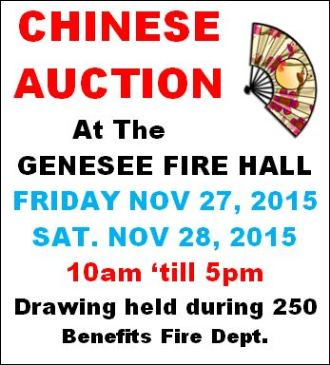 11-27 & 28 Chinese Auction At Genesee VFD