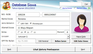 Menu Database Siswa - Asis