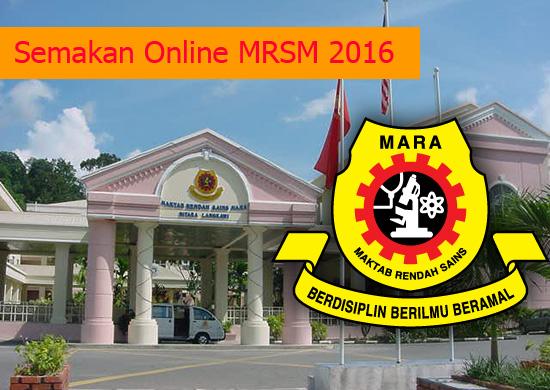 Semakan kemasukan ke tingkatan 1 dan 4 MRSM 2016
