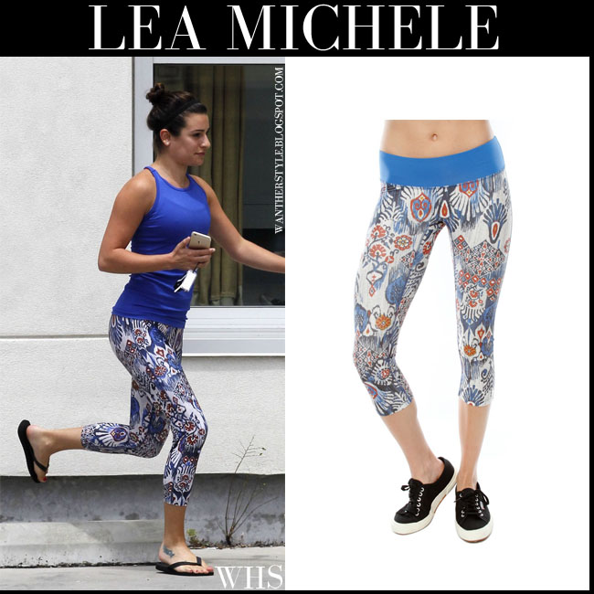 Lea Michele in blue top, blue batik print prismsport leggings and black flip flops havaianas what she wore july 7