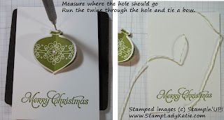 How to tie the twine to suspend the 3D ornament element
