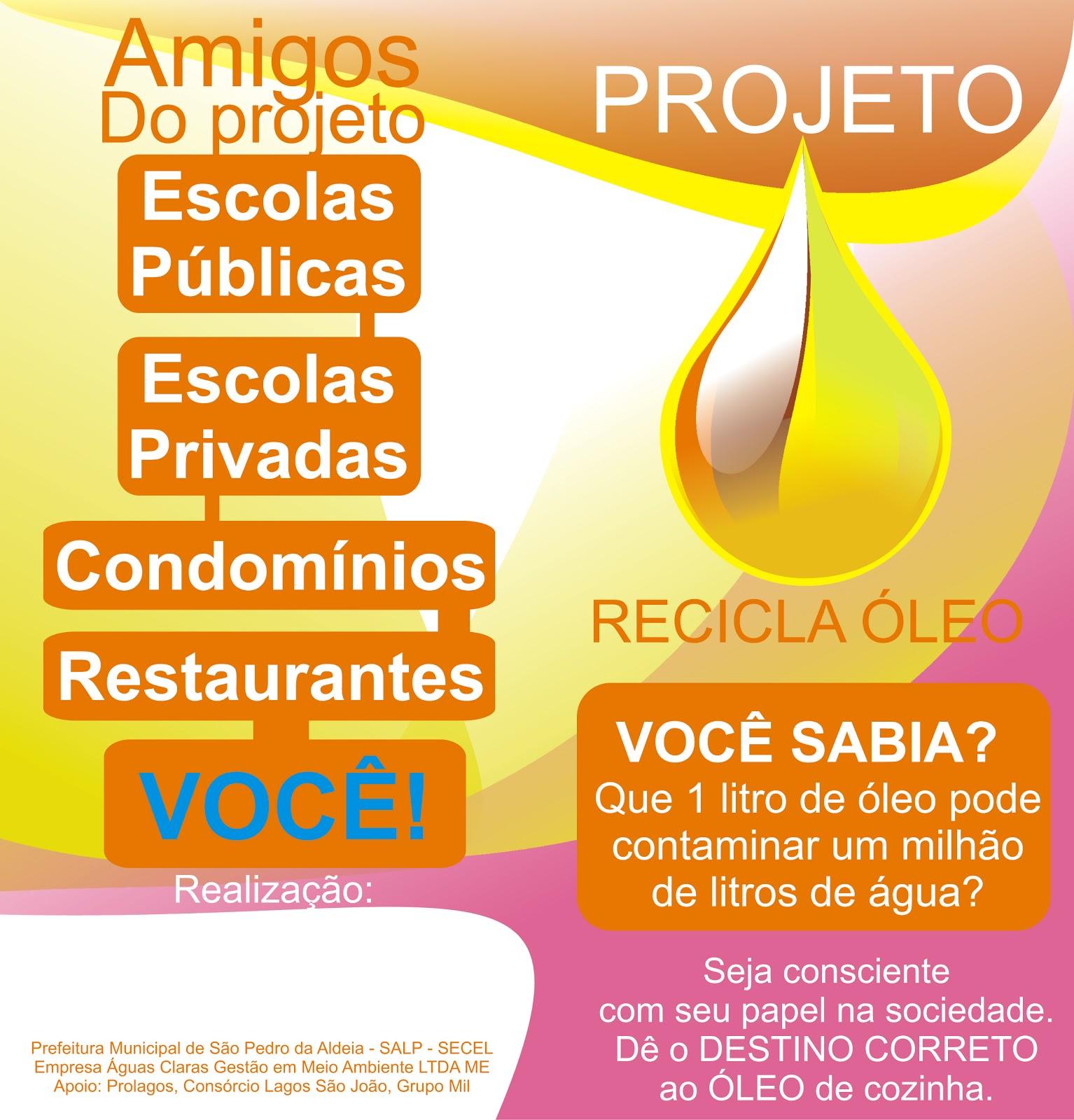 São Pedro da Aldeia tem projeto para reciclagem de óleo de cozinha #077FC4 1534 1600