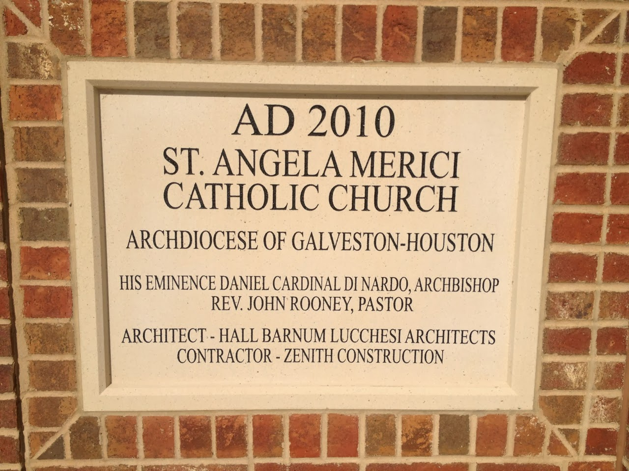 Cornerstone of St. Angela Merici Catholic Church in Missouri City, TX