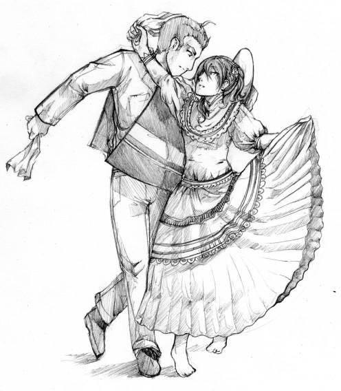 Danza la marinera para colorear - Imagui