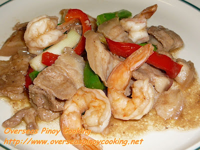 Pork and Prawn Stirfry with Oysters Sauce