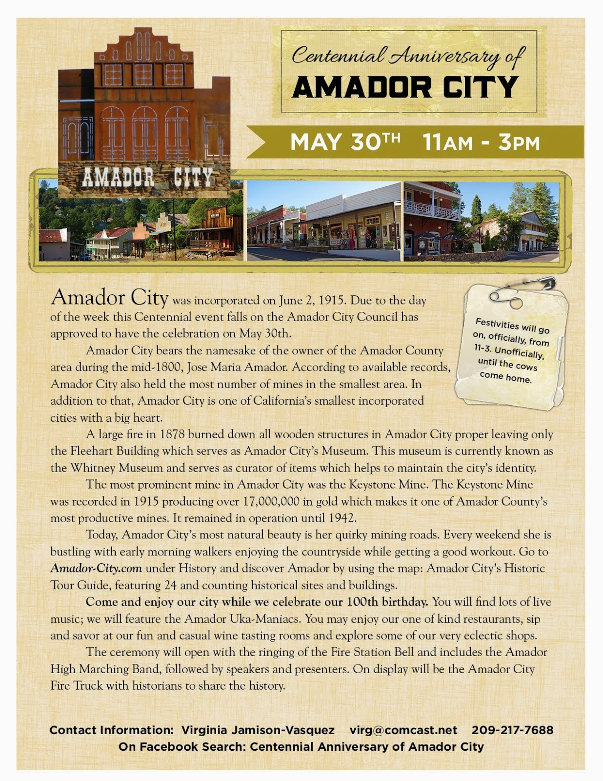 Centennial Anniversary of Amador City - Sat May 30