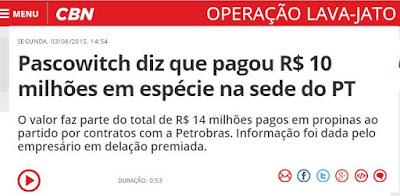Pascowitch diz que pagou R$ 10 milhões em espécie na sede do PT