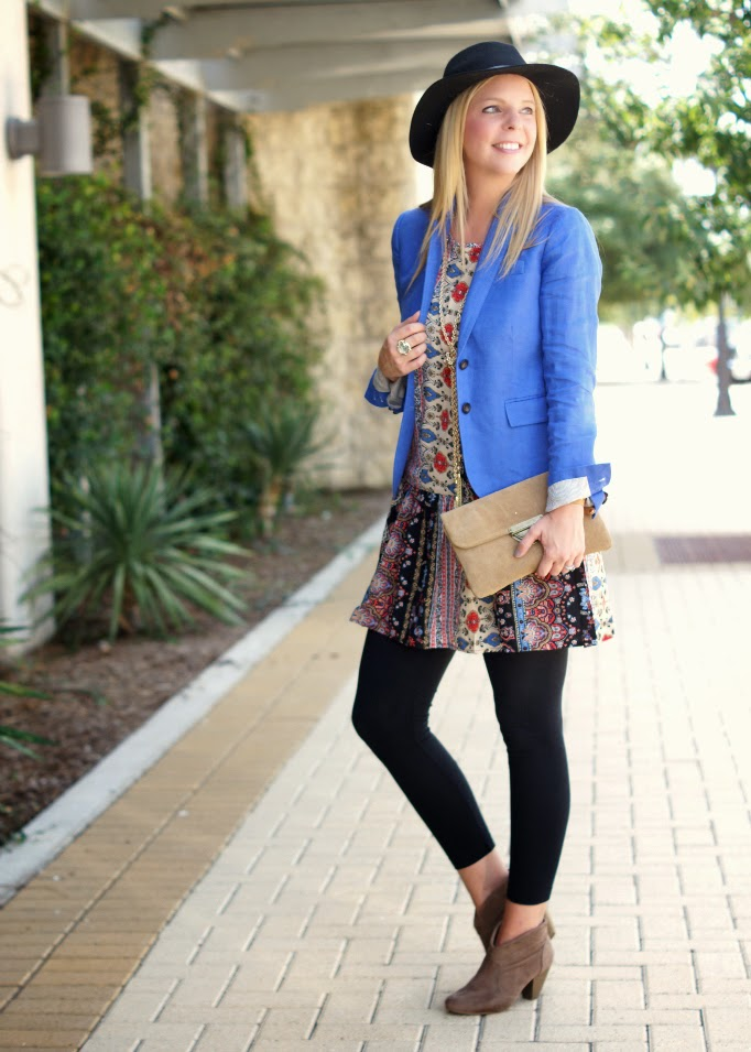 boho layering with a printed tunic ankle boots floppy hat
