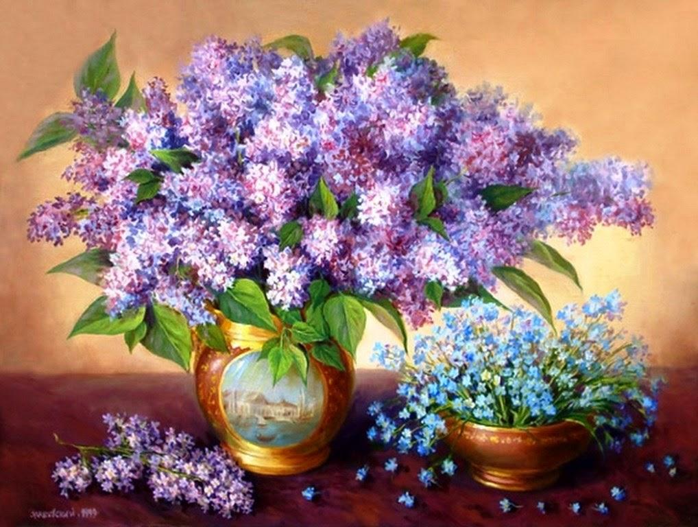 pinturas jarrones con flores