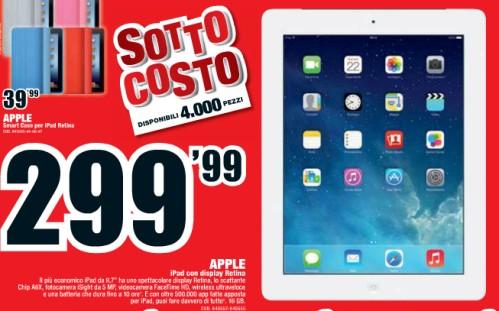 In offerta al prezzo sottocosto di 299 euro l'iPad 4 Retina display solo wifi da Mediaworld