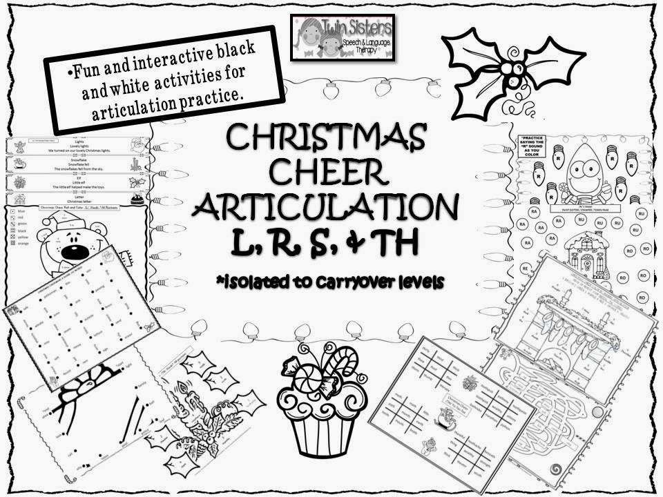 Worksheets Articulation Worksheets twin speech language literacy llc christmas cheer articulation l r s and th sounds all in black white