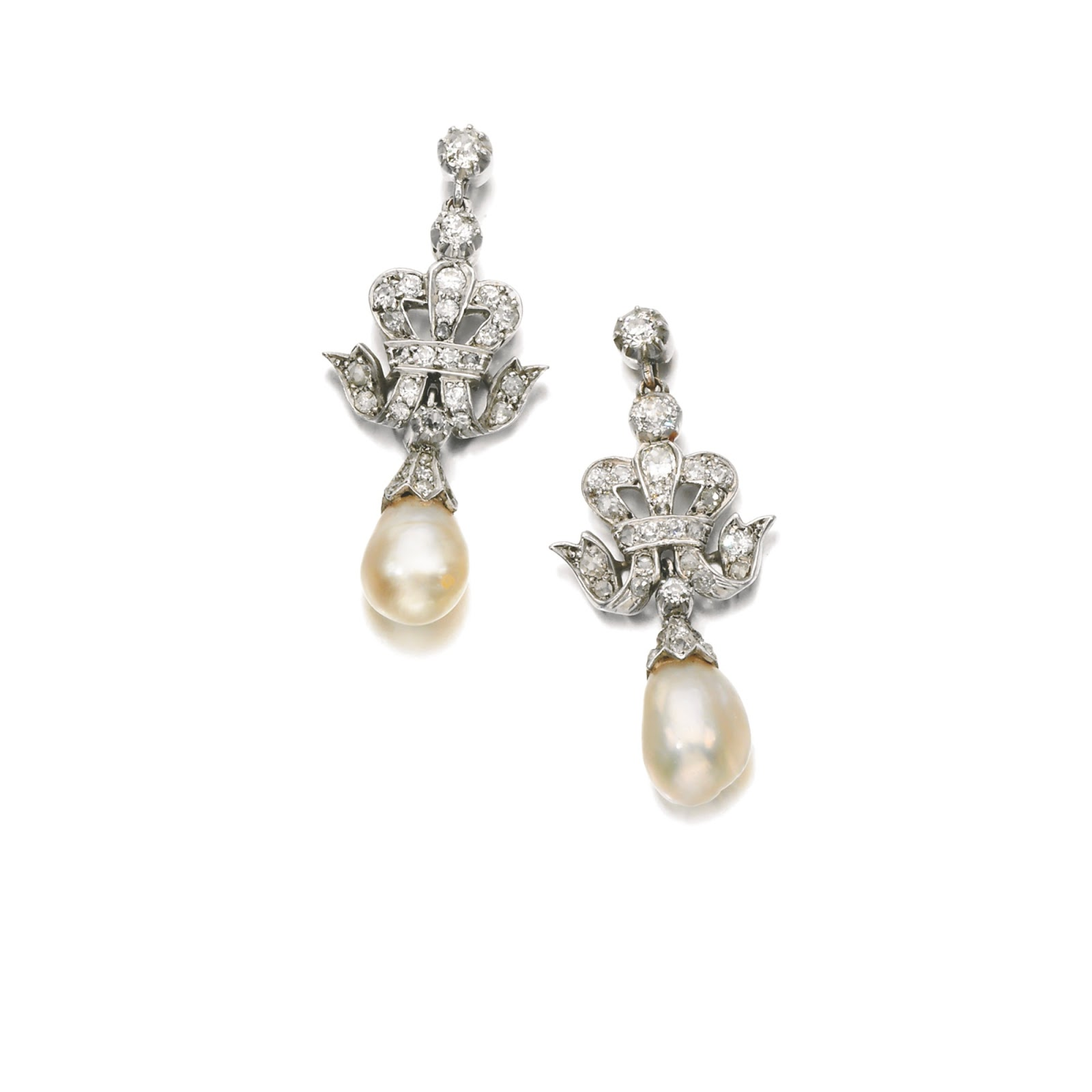 Elegant Diamond And Pearl Earrings