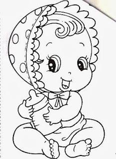 desenho bebe menina com mamadeira para pintar