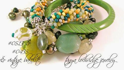 Green Aventurine, Prehnite Gemstone & Pearl Bracelet