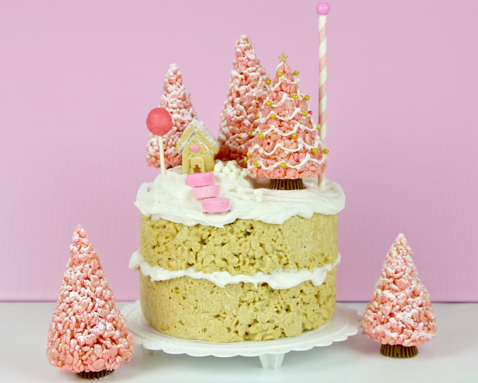 VIDEO} No Bake Pink Winter Wonderland Gingerbread Cake - Lindsay Ann ...
