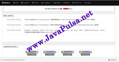 Daftar Menu Web Report Java Pulsa Online Termurah Jember Surabaya Jawa Timur