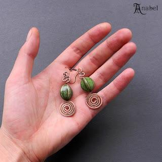 купить приобрести серьги из меди  зеленые бусины керамические украшения этнические анабель аннабель