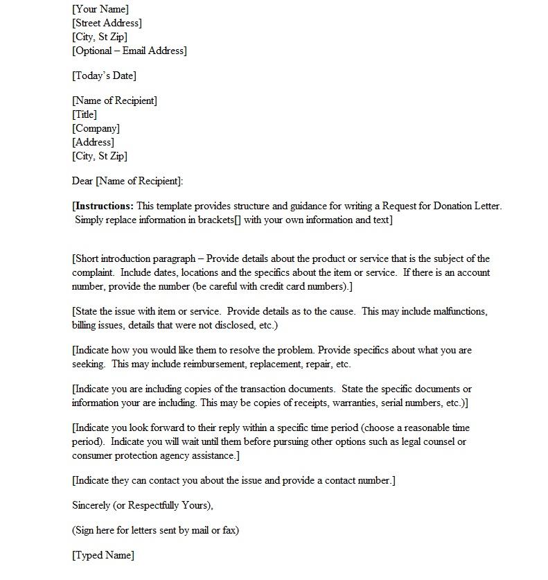 complaint letter about service