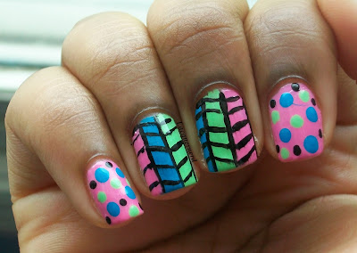 Tribal with Polka Dots Nails